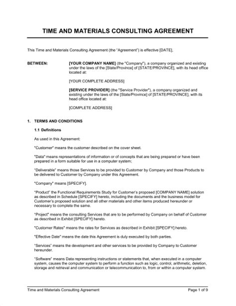 time and materials contract template time and materials consulting agreement template