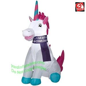 gemmy airblown inflatable   merry christmas unicorn