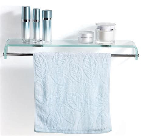 Bathroom Glass Shelves With Towel Bar Stylish Bathroom Glass Shelf With Chrome Towel Bar