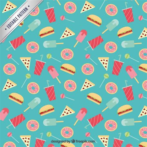 Fast Food Kitchen Design Flat Sweets And Fast Food Pattern Vector Free Download