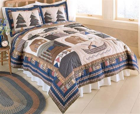 cabin rustic lodge country king quilt bedding set