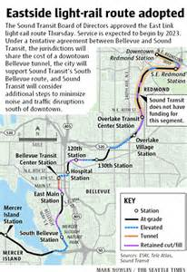 Link Light Rail Seattle Map by Sound Transit Approves East Link Light Rail Route The