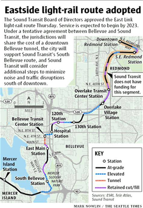 Light Rail Bellevue by Sound Transit Approves East Link Light Rail Route The Seattle Times