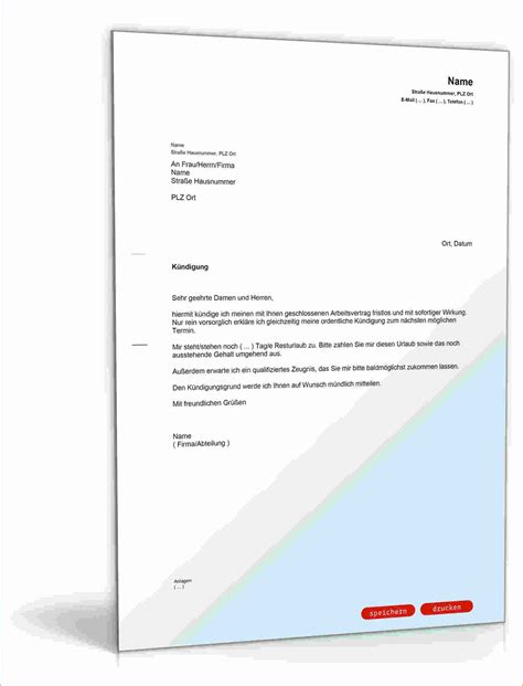 Praktikum Vorlage Arbeitgeber 7 K 252 Ndigung Arbeitsvertrag Vorlage Bewerbungsschreiben