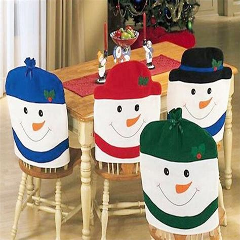 2016 christmas chair back cover snowman hat decor