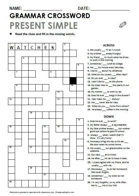 printable crossword puzzle for english learners present simple grammar crossword schwa english practice