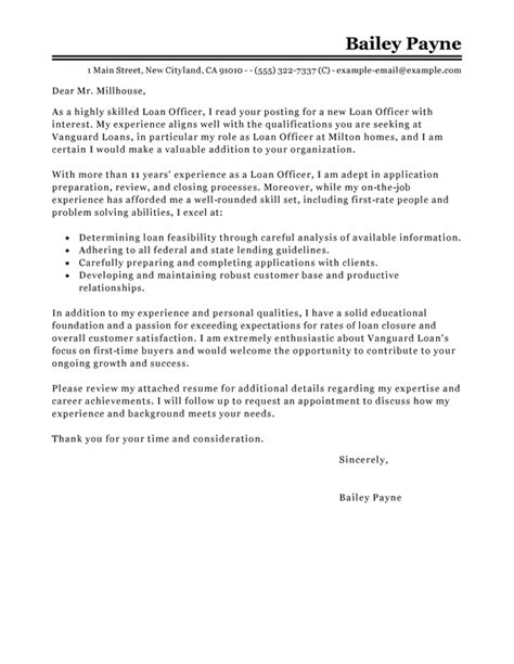 Mortgage Loan Officer Cover Letter by Best Loan Officer Cover Letter Exles Livecareer