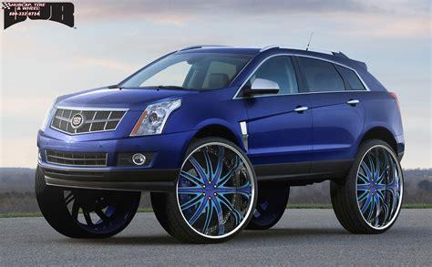 cadillac srx black cadillac srx dub c22 flex wheels blue w black accents