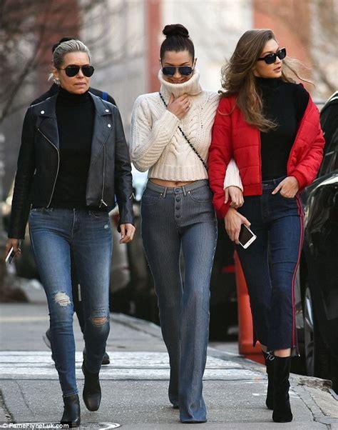 wear does yolanda ger her clothes yolanda hadid and model daughters gigi and bella take nyc