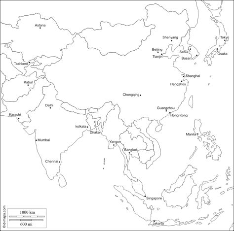 blank map of asia with country names blank map of asia with names
