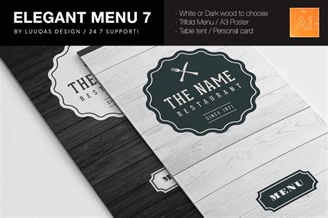 elegant food menu 7 illustrator template by luuqas design