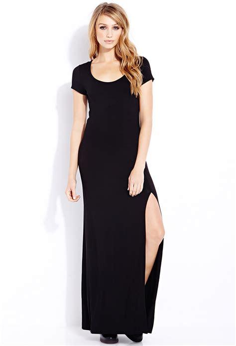 forever 21 basic maxi dress in black lyst