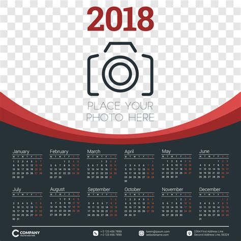 2018 calendar with photo vector vector calendar