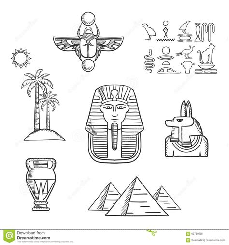 egypt travel and ancient sketch icons stock vector