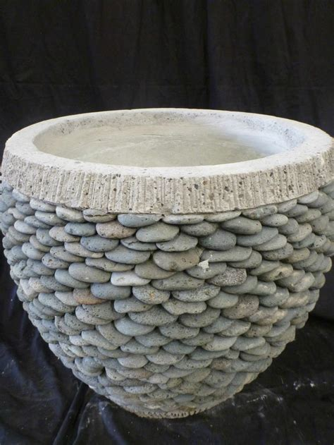 balinese stack garden pot pebble planter concrete