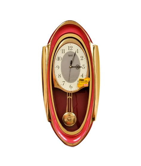 swinging pendulum clock ajanta red swinging pendulum wall clock buy ajanta red