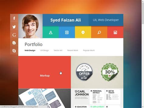 vcard free responsive blogger template for cv and