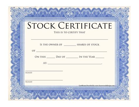 Blank Stock Certificate Template Printable Stock Certificates Template Blue Stock Certificate Back Of Stock Certificate Template