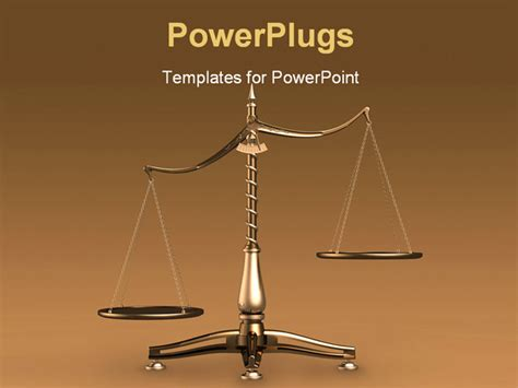 powerpoint templates for justice big brass empty scales unbalanced conceptual on brown