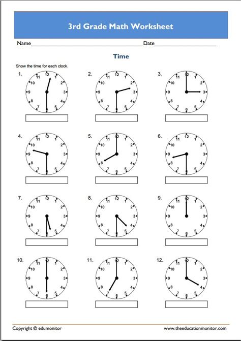 printable math time worksheets for 3rd grade 3rd grade math worksheets to print beginners 3rd best