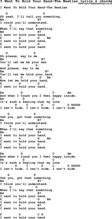 Love Song Lyrics For I Want To Hold Your Hand The Beatles