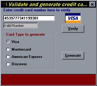 Format Of Credit Card Number credit card validate and generate credit card numbers by duhaime from psc cd