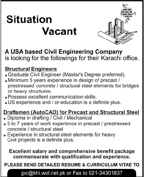design engineer jobs usa usa based civil engineering company required staff in