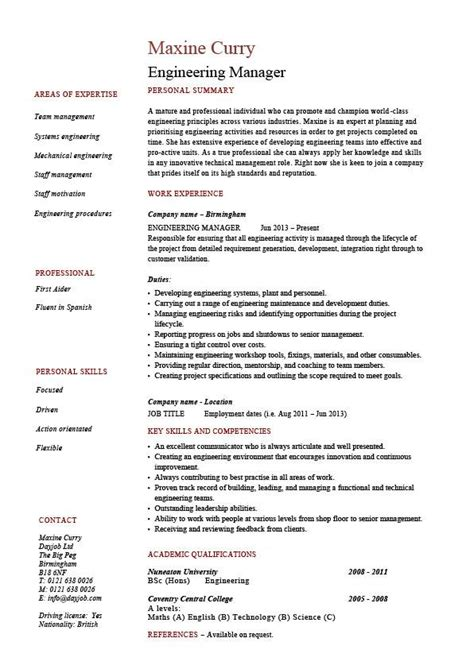 Resume Format For Engineering Manager Engineering Manager Resume Sle Template Exle Managerial Cv Description Work