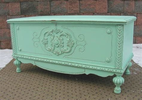 aqua cedar blanket chest trunk shabby chic painted