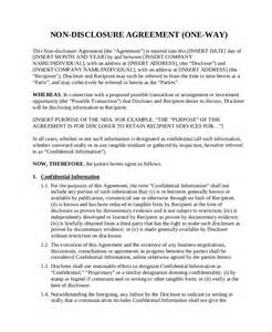 unilateral non disclosure agreement template non disclosure agreement template 8 free word pdf