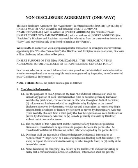 patent non disclosure agreement template non disclosure agreement template 8 free word pdf