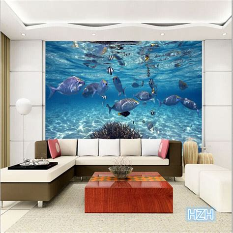 Living Room Wallpaper 3d Background by Custom Photo Wallpaper 3d Stereoscopic Underwater World Of