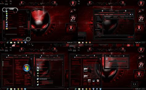 video game themes for windows 10 windows 7 themes alien tech red color by customizewin7 on