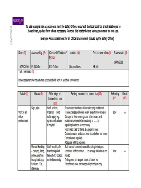 risk assessor appointment letter template 5 office risk assessment forms free sle exle