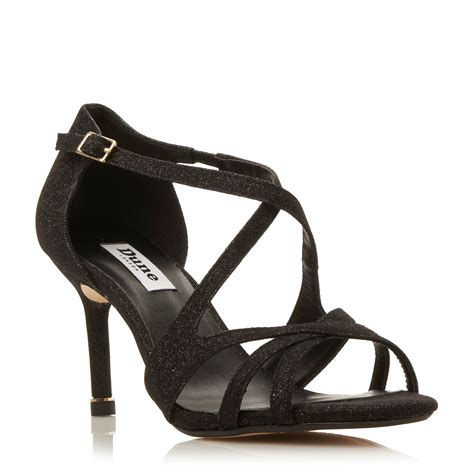 black strappy sandals dune marilyn strappy mid heel sandals in black lyst
