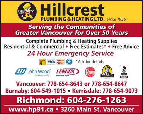 Bc Heating And Plumbing by Hillcrest Plumbing Heating Vancouver Bc 3260