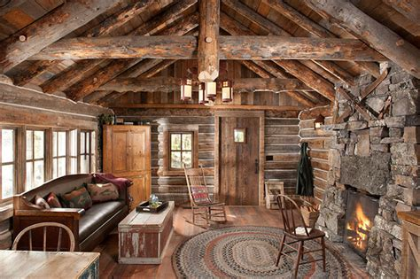 Fireplace With Tv Inside by Whitefish Montana Private Historic Cabin Remodel Rustic