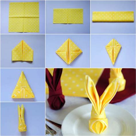 How To Fold Paper Napkins Into Shapes - how to fold bunny napkin diy tutorial