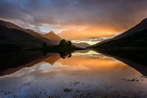 scotland highlands sunset september water sky hills hd