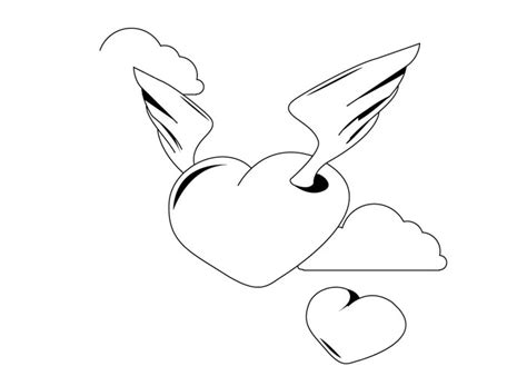 Heart With Wings Coloring Page Coloring Pages Of Hearts With Wings