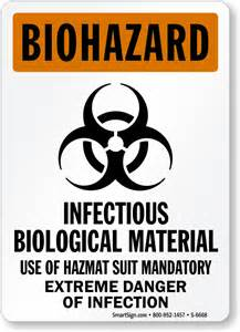 infectious biological material use hazmat suit biohazard