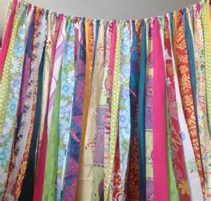 Junk Gypsy Home Decor boho curtains rustic rag fabric ribbon garland backdrop