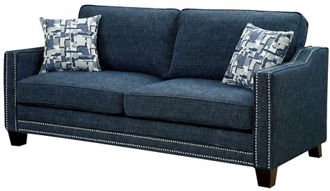 blue chenille sofa kerian blue chenille sofa from furniture of america