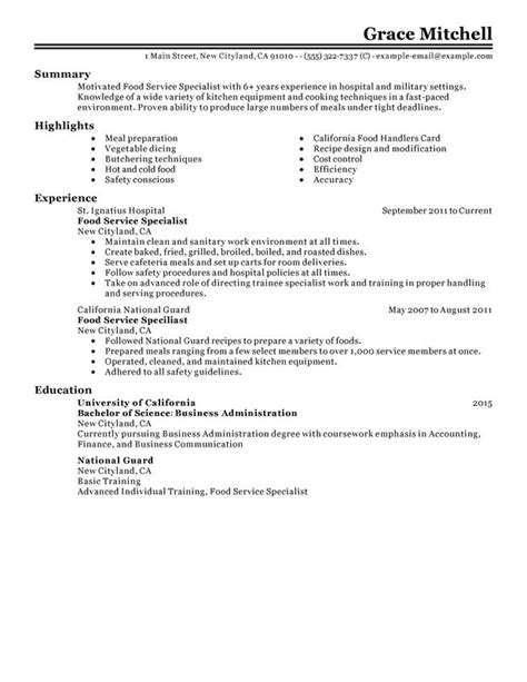 Resume For Food Service Worker by Doc 12751650 Exle Resume Sle Resume Food Service Worker Sleresume Bizdoska