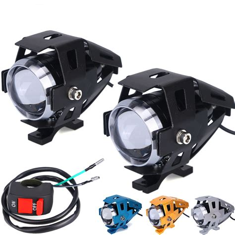 Led Motor 4 Sisi 125w motorcycle headlight fog lights u5 led high low beam flash driving motorbike spot l