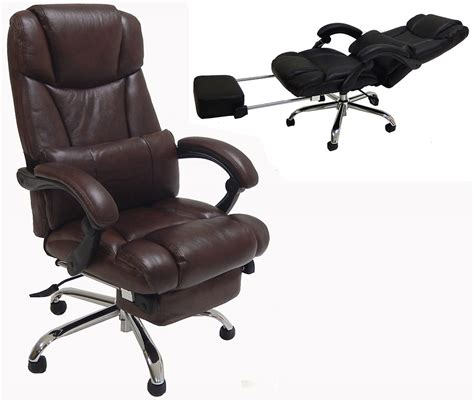 reclining desk chair with footrest leather reclining office chair w footrest