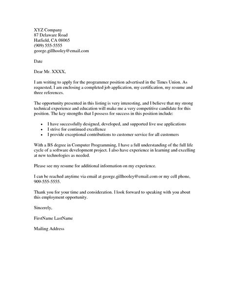 cover letter sle cover letter for application in