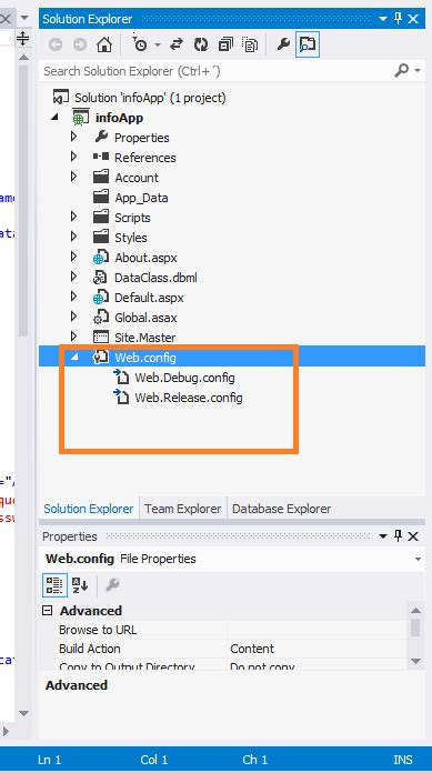 tutorial web config asp net transform web config when deploying a web application
