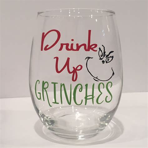 Drinks Up by Drink Up Grinches Wine Glass Wine Glass