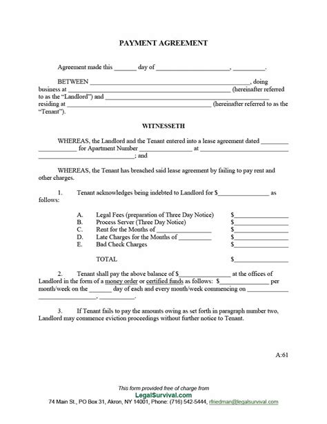 template agreement payment agreement 40 templates contracts template lab